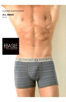 Boxer Basile cotone elasticizzato con piccole righe BB603
