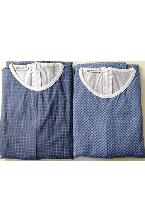 Pigiamone Tutone maschile estivo per anziani manica lunga 100% cotone con cerniera posteriore