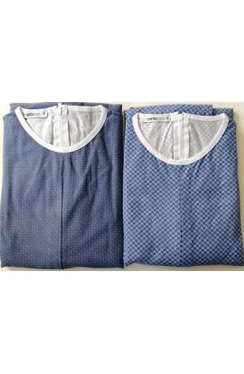 Estate IVA 4% Pigiamone Tutone maschile estivo per anziani manica lunga 100% cotone con cerniera posteriore 1001