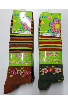 6 paia di Calze per bambina caldo cotone gamba lunga a righe e fiori Lilli