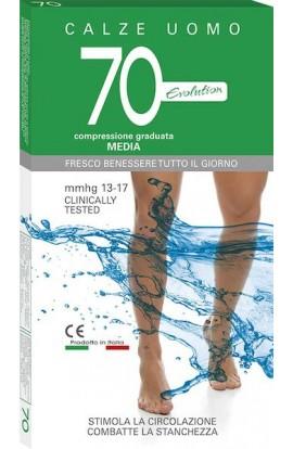 Calza riposo uomo 70 den Cotone sulla pelle gamba lunga compressione 13-17 mmHg