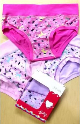 3 Slip bambina cotone senza bordi elasticizzati cotone Emy