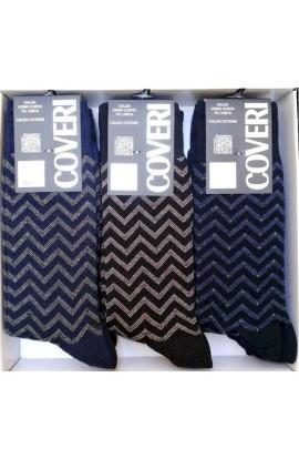 Enrico Coveri Calza corta caldo cotone onde colorate Trend 204