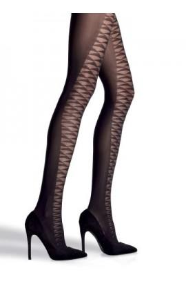 Collant donna disegno geometrico sul fronte e coprente sul retro in microfibra 60 Franzoni Egoista