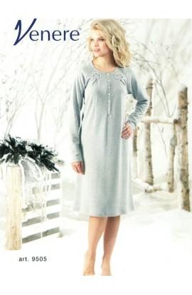 Camicia da notte classica in caldo cotone manica lunga 9505