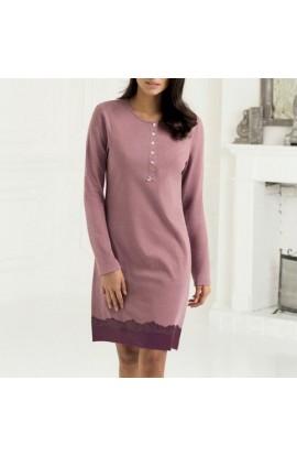 Camicia da notte per donna caldo cotone 100% bordo pizzo SièLei VO25