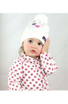 Berretto per bambine con pompom e cuori colorati Nazareno Gabrielli N67C