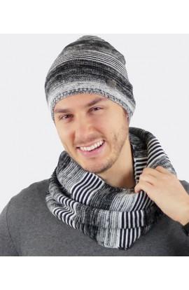 Berretto uomo a cuffietta in maglia liscia rigata Colombo C152