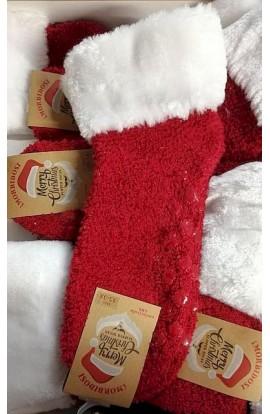 Calza Babbo Natale antiscivolo per donna in morbido boucle con bordo in pelliccia HS23N