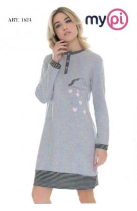 Camicia da notte caldo cotone 100% invernale interlock My Pi 1654