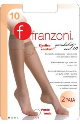 2 Gambaletti invisibili elasticizzati Veil 10 den punta nuda Franzoni 2 paia