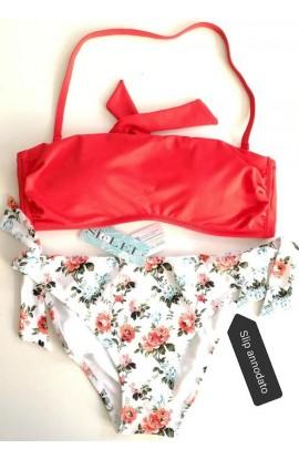 Bikini a fascia preformata e slip allacciabile o fisso SièLei AV55