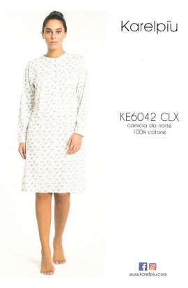 Camicia da notte CALIBRATA 56 - 58 e 60 cotone 100% leggero manica lunga art. KE6042