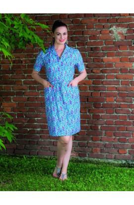 Abito o vestaglia estiva con colletto da esterno aperta davanti, estiva fresca e 100% cotone Aertre 106