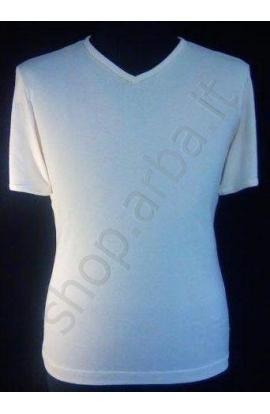 T-shirt scollo a V cotone mercerizzato lucido Likos 40084