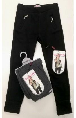 Leggings felpato orsetto morbidissimo e caldo con tasche zip per bimba Gladys 1724