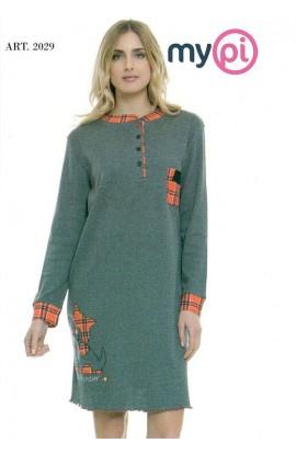 Camicia da notte caldo cotone 100% invernale interlock MyPi 2029
