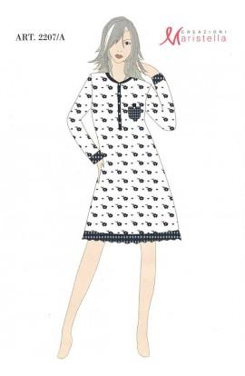 Camicia da notte caldo cotone 100% invernale interlock Maristella 2204-C