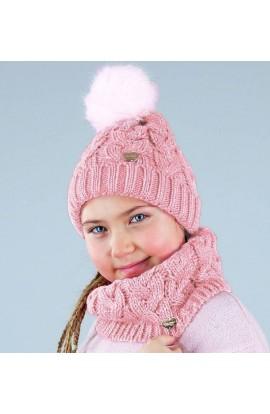 Cappello a trecce con lurex e pompon in eco-pelliccia per bambina Colombo C8007