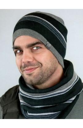 Scaldacollo o sciarpa ad anello uomo rigato in maglia rasata Colombo S157