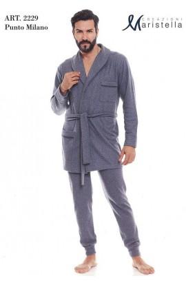 Vestaglia per uomo classica da camera invernale felpata con cintura Maristella 2229