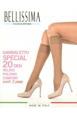 2 paia Gambaletti Special 20 den velato elasticizzato elastico comfort morbidissimo Bellissima