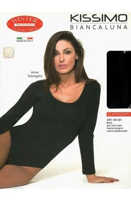 Body collo tondo caldo cotone elasticizzato invernale Kissimo KB391