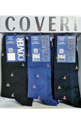 Calza gamba corta con barche a vela colorate filo di Scozia Coveri Dynamic 233