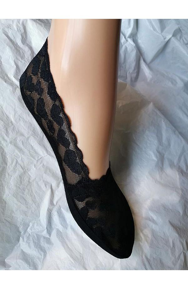 Fantasmino in pizzo per donna con soletta in cotone bordo siliconato C130