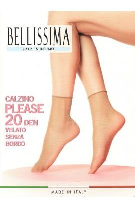 2 Calzini velatissimi senza elastico taglio laser punta nuda 20 den Bellissima Please 2 paia