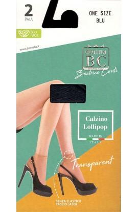2 Calzini velatissimi senza elastico taglio laser punta nuda 20 den Donna BC Lollipop 2 paia