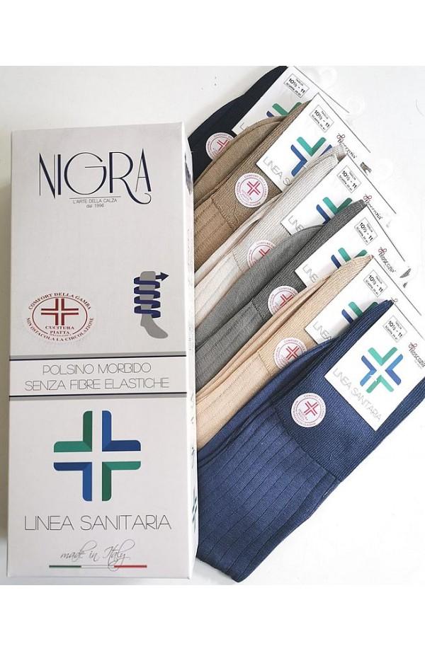 calze sanitarie corte estive in Filo di Scozia senza elastico Nigra 201
