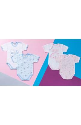 2 Body MEZZA MANICA neonato 100% con disegni cotone maschio e femmina Ellepi 4556