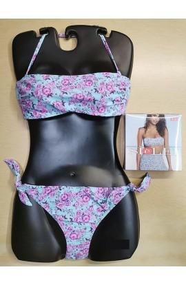 Bikini a fascia con ferretto non imbottito e slip regolabile allacciato SièLei BL57