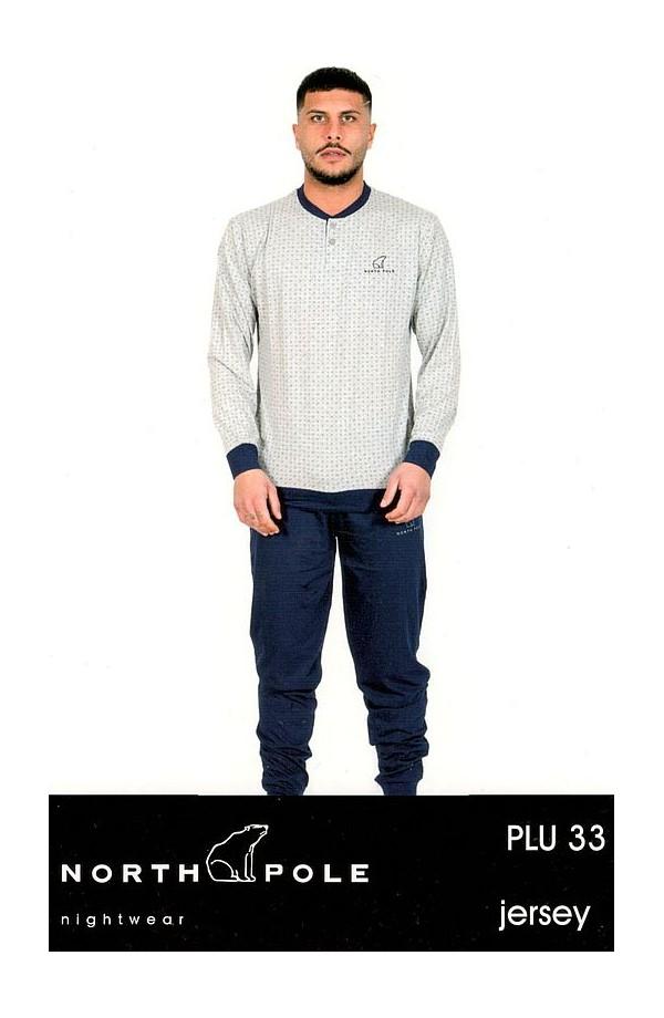 Pigiama 100% cotone uomo pantalone e maniche lunghe North Pole PLU33