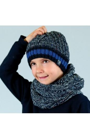 Completo di berretto + sciarpa ad anello per bambino dai 3 a 8 anni morbidissimi 8040SET