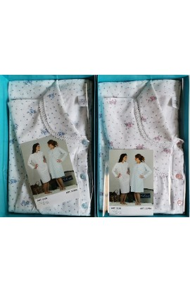Camicia da notte flanella per signora invernale 100% cotone Silvia 1158