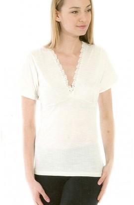 Maglia manica corta intima donna misto lana con reggiseno Magal 73100