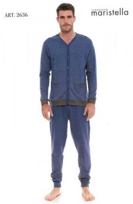 Pigiama per uomo giacca aperta 100% cotone invernale interlock Maristella 2636