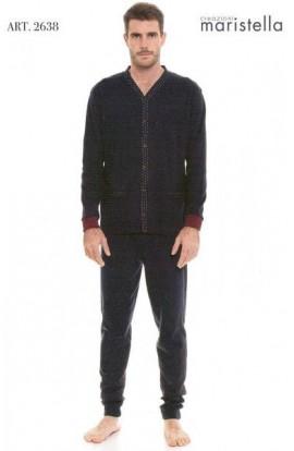 Pigiama per uomo giacca aperta 100% cotone invernale interlock Maristella 2638