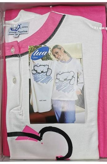 Pigiama donna cotone invernale interlock 100% cotone caldo Venere 6641