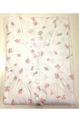 Camicia da notte per signora manica lunga con arriccio cotone 100% art. Silvia