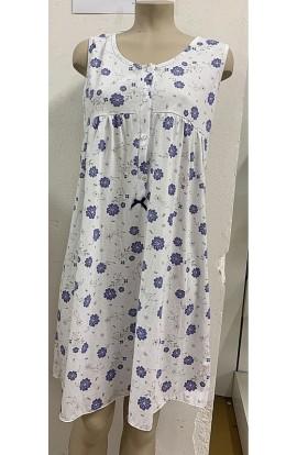 Camicia da notte estiva cotone spalla larga con arriccio 100% cotone  Silvia