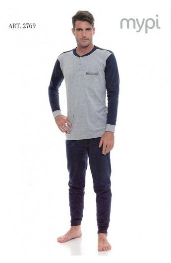 Pigiama 100% cotone uomo pantalone e maniche lunghe Mypi 2769
