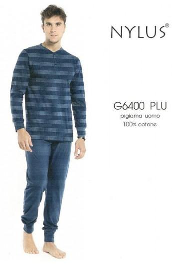 Pigiama 100% cotone uomo pantalone e maniche lunghe Karel 6400