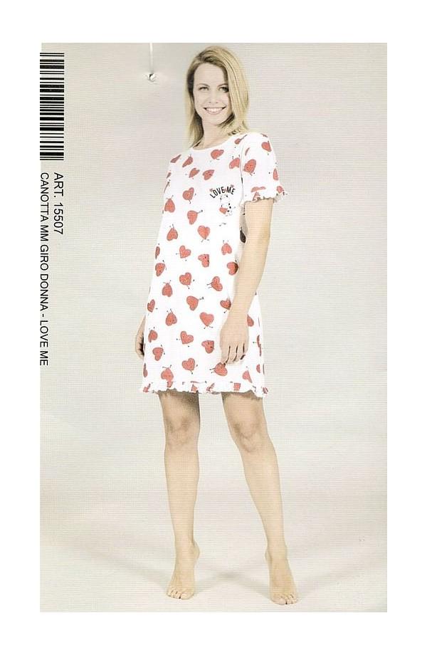 Camicia da notte o abitino casa per donna in manica corta Crazy Farm 15507