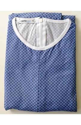 Tutone Estate Pigiamone maschile per anziani estivo manica lunga 100% cotone con cerniera posteriore 1001