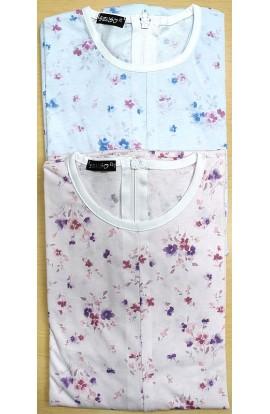 Tutone Estate Pigiamone femminile per anziani 100% cotone cerniera posteriore estivo manica lunga art. 1003
