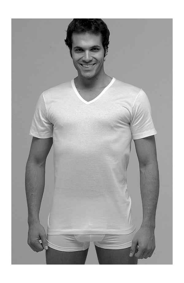 Maglia intima uomo T-shirt scollo a V filo di Scozia mercerizzato Pierre Fragi