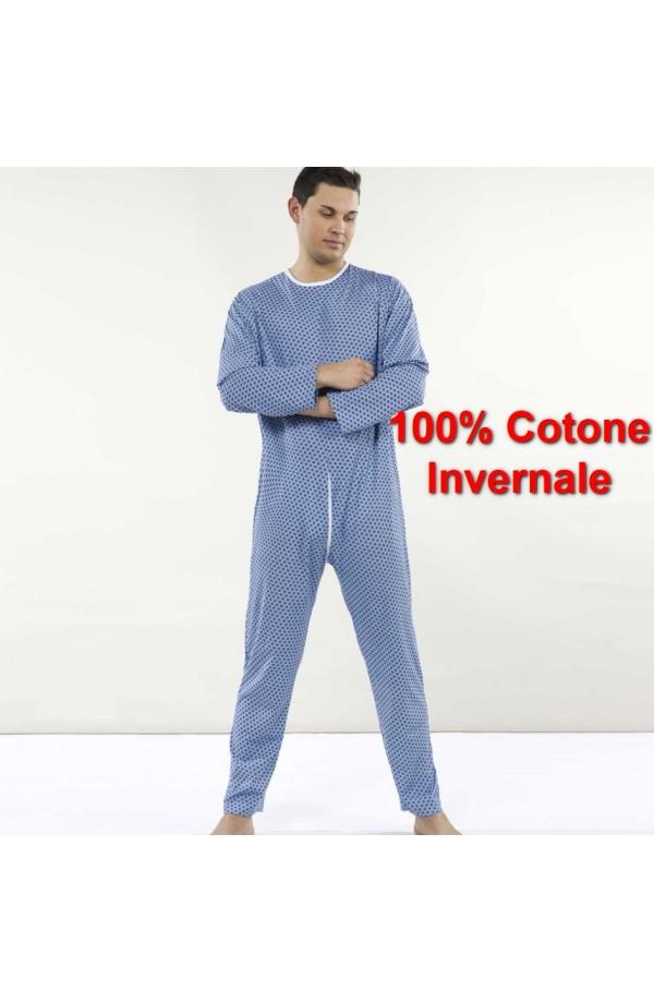 Pigiamone invernale maschile per anziani medio peso cotone interlock con cerniera posteriore 1000